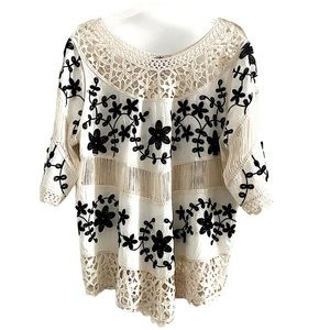 Boho-chic embroidery open knit blouse, 100% cotton